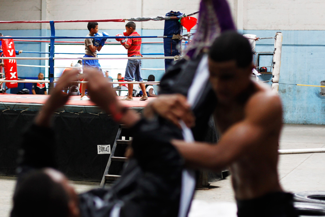 Children's practice in the ring during a training session at the Rockero Alcazar gym in the low-income neighbourhood of Curundu in Panama City. ? Photo by Reuters.