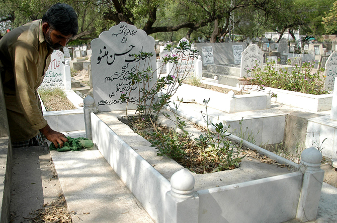 Even though Manto had written his own epitaph, his sister had the tombstone replaced with another that carries an inscription with an ironic repetition of the word grave: ?.... Saadat Hasan Manto ki qabr ki qabr he Yahan Manto jo aaj bhi ye samajhta hay kay wo loh-e-Jahan per harf-e-muqarar nahi tha.? ?(This is) the grave of Saadat Hasan Manto's grave who still believes his name was not to be written twice on the cosmic stone).? Manto had to be disagreed with even in death. ? Photo by Tariq Mahmood