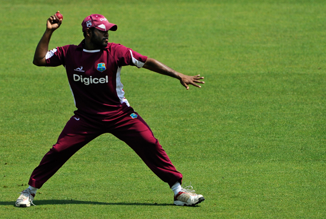 West Indies' Adrian Barath throws a ball during a net practice session at the Trent Bridge cricket ground. ? Photo by AP