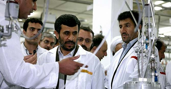 Iranian President Mahmoud Ahmadinejad as he visits Natanz uranium enrichment facilities some 300 kms, south of the capital Tehran on April 8, 2008.  – File photo by AFP