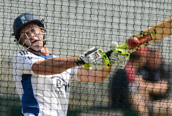 England's captain Andrew Strauss hits out in the nets. ? Photo by Reuters
