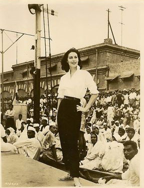 Ava Gardner shoots a scene at Lahore's Railway Station.