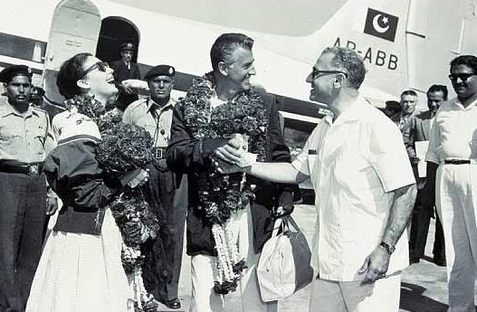 Ava Gardner and Stewart Granger at Lahore Airport.