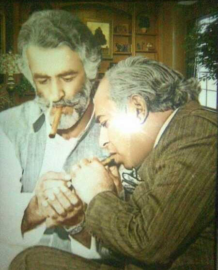Baloch leader, Nawab Bugti and Z. A. Bhutto share a smoke (1974). Both were later killed by the military Bhutto in 1979 and Bugti in 2005.