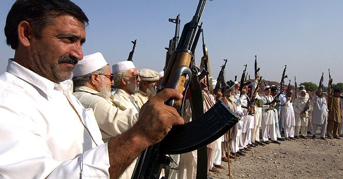 Show of arms by a tribal militia in the Darra Adamkhel region of Pakistan. – File photo by AFP