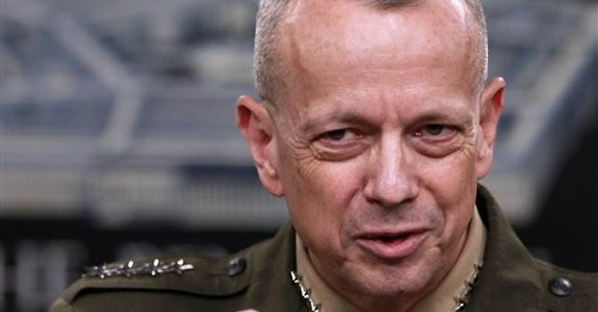 Marine Gen. John Allen, the top US commander in Afghanistan gestures during a news conference at the Pentagon, Monday, March 26, 2012. (AP Photo/Haraz N. Ghanbari)