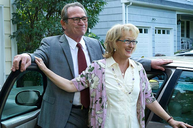 Actors Tommy Lee Jones (L) and Meryl Streep are shown in a scene from the film ?Hope Springs?