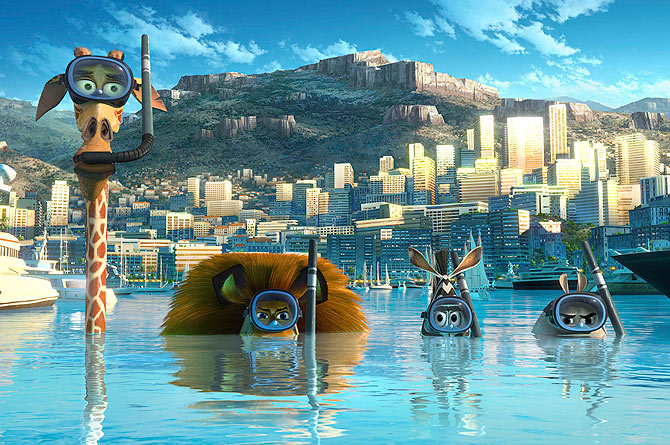 The characters of animated film ?Madagascar 3: Europe's Most Wanted?