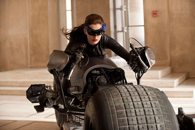 Actress Anne Hathaway is shown in a scene from the Warner Bros. film ?The Dark Knight Rises?