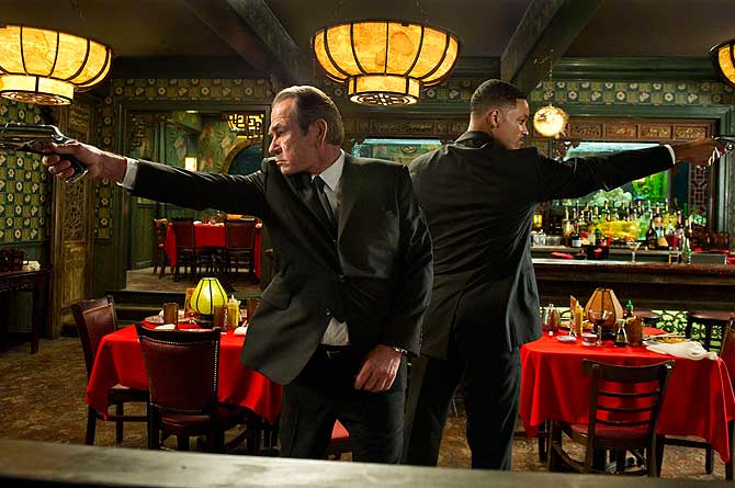 Actors Tommy Lee Jones (L) and Will Smith are shown in a scene from ?Men in Black 3?