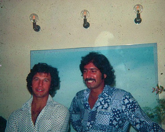 Pakistan cricket team's famous pace duo, Imran Khan and Sarfraz Nawaz, at a nightclub in Melbourne in 1981.