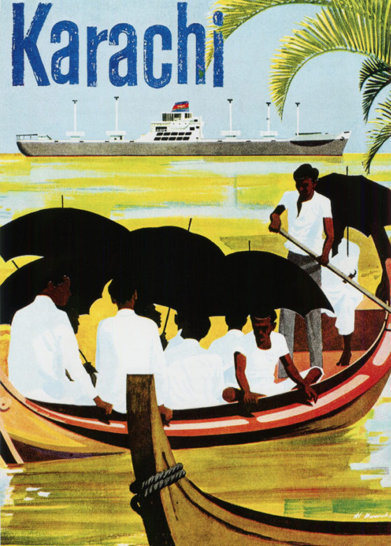 A 1967 tourism poster for Karachi (printed by American airline Pan Am and used in Europe and the US).