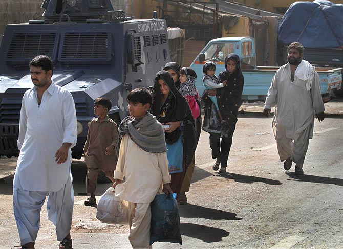 Residents flee the area to avoid violence. Many locals were left with no access to basic amenities due to heavy skirmishes during the operation.