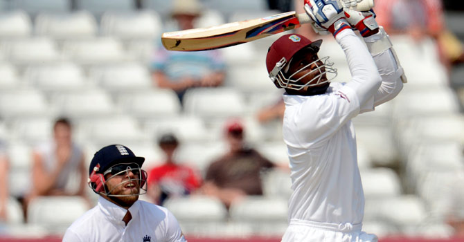 Marlon Samuels made an unbeaten 76 but was unable to set England a stiff target. – Photo by Reuters