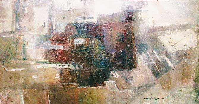Mussarat Mirza's oil-on-canvas painting.–Photo by Dawn