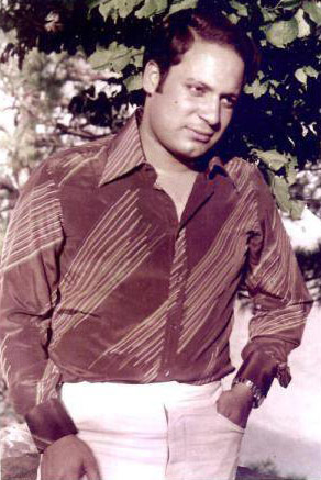 A 1973 photo of Nawaz Sharif.  Sharif came from a business family and according to a biography (published in 2004) he was a music and film enthusiast and a PPP/Bhutto supporter at college (in the late 1960s).