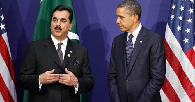 Prime Minister Syed Yusuf Raza Gilani, left, speaks as US President Barack Obama listens.—AP Photo