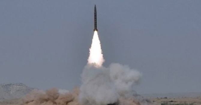The missile has stealth capabilities can carry both nuclear and conventional type of warheads. — Photo by AP