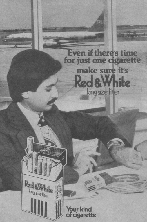 A 1974 press ad of Red & White cigarettes. Just like in other airports of the world at the time, smoking was allowed in all areas of Pakistani airports as well.