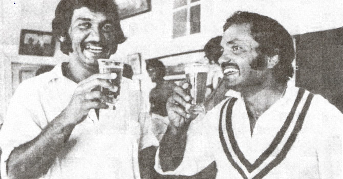 Former Pakistani test team opener, Sadiq Muhammad (left) and  former Pakistan cricket captain, Mushtaq Muhammad, share a beer in Sydney in January, 1977.