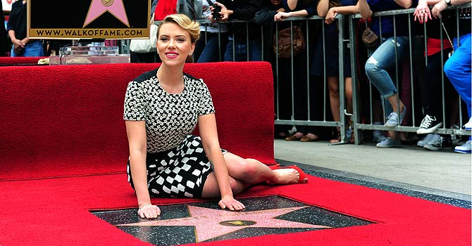 Scarlett Johansson poses after being honored with a Star on the Hollywood Walk of Fame.–AFP Photo