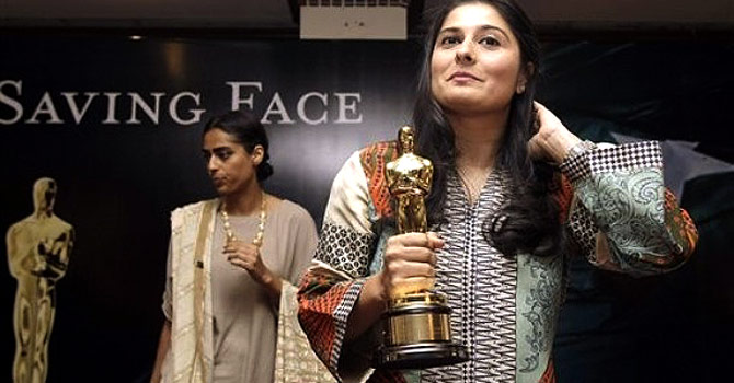 "Sharmeen Obaid-Chinoy (seen here) and co-director Daniel Junge, find themselves in the middle of a potential legal battle with survivors of acid attacks, following the expected release of their film ""Saving Face"" in Pakistan. – Photo by AP"