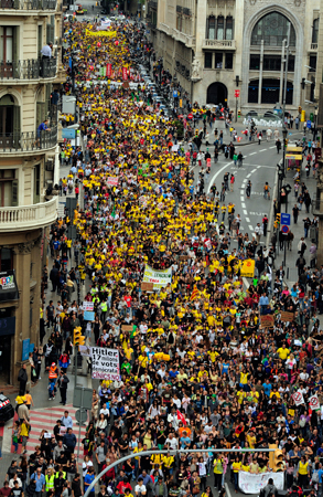 University students take part during a demonstration against education cuts in Barcelona. ? Photo by AP