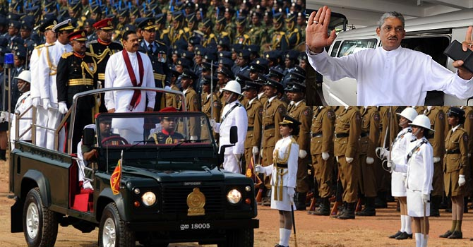 "Sri Lankan President Mahinda Rajapaksa (C) rides in a jeep during a Victory Day parade in Colombo on May 19, 2012. President Mahinda Rajapakse, in an address to the nation, said he could not dismantle military camps in the embattled regions and undermine national security in a country emerging from nearly four decades of ethnic bloodshed.""The diaspora has not stopped their activities (against Sri Lanka),"" Rajapakse said, referring to Tamil separatists abroad. ""It is no secret that LTTE (Liberation Tigers of Tamil Eelam) leaders are freely operating abroad.""  AFP PHOTO/Ishara S. KODIKARA"