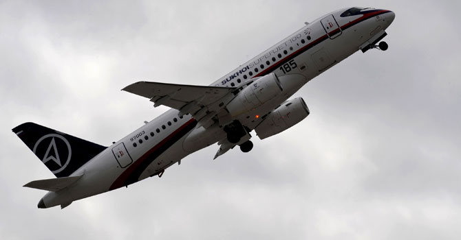 A Russian Sukhoi Superjet 100 on a demonstration flight with 46 people on board went missing south of the Indonesian capital Jakarta. – File photo by AFP