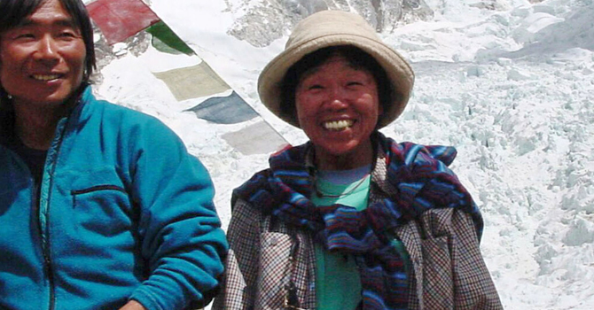Tamae Watanabe, right, of Japan poses with a photographer Noriyuki Muraguchi at a base camp on the foot of Mt Everest in Nepal.—AP Photo