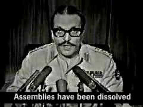 Ziaul Haq announcing the dissolution of elected assemblies and the imposition of Martial Law (July 1977).