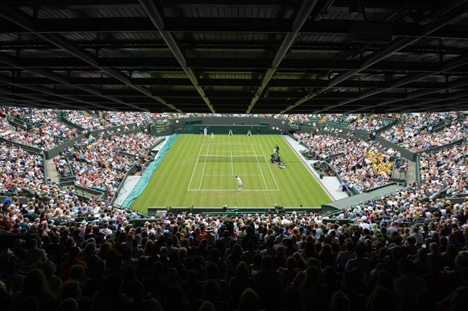 View of Court 1 during the first round men's singles match between France's Jo-Wilfried Tsonga and Australia's Lleyton Hewitt. ? Photo by AFP