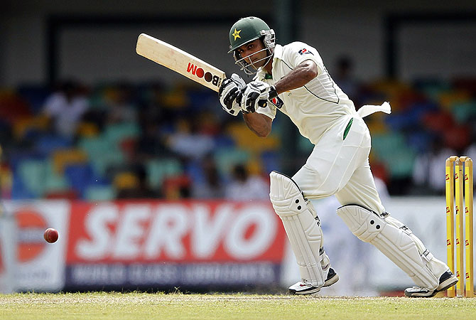 Mohammad Hafeez put behind his effort in Galle in a big way. He too was aggressive in his approach. -Photo by Reuters