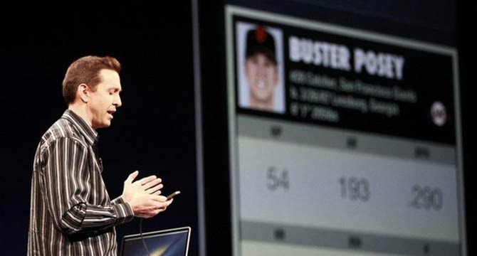 Scott Forstall, senior vice president of iOS Software at Apple Inc. , uses Siri to get information on the San Francisco Giants' Buster Posey during the Apple Worldwide Developers Conference 2012 in San Francisco. – Reuters