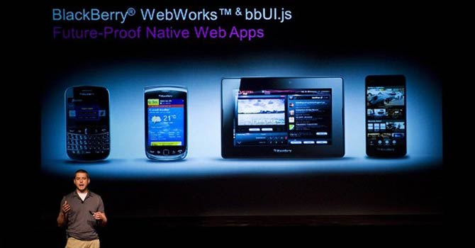 Tim Neil, Research In Motion Ltd.'s Canadian Operating Director of Operations, Platforms and Tools, speaks about the Blackberry 10 architecture during the RIM Blackberry 10 Jam World Tour in Toronto. – AP