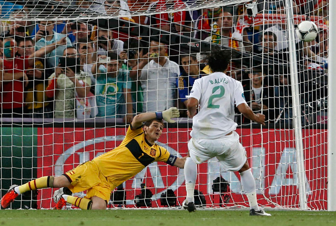 Portugal's Bruno Alves fails to score during penalty shoot-out of the Euro 2012 semi-finals. ? Photo by Reuters