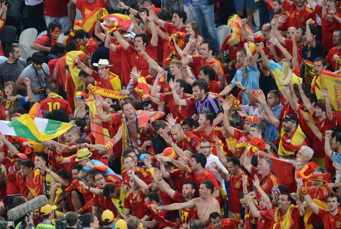 Spanish fans celebrate winning the Euro 2012 football championships semi-final match Portugal vs Spain. ? Photo by AFP