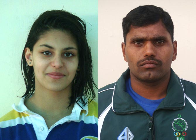Anum Bandey and Israr Hussain: Pakistan's designated swimmers at the London 2012 Olympic Games - Photo courtesy Pakistan Swimming Federation