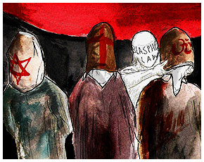 Blasphemy law in Pakistan – Illustration by Faraz Aamer Khan/Dawn.com