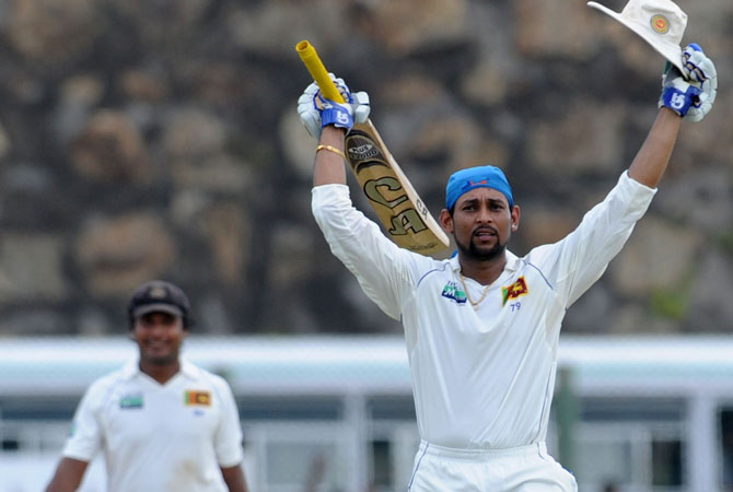 Dilshan cracked 13 fours and a six in his 180-ball 101. It was Dilshan's first Test century at home since making 123 not out against New Zealand at Galle in August 2009. -Photo by AFP
