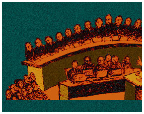 Supreme Court full-bench hearing – Illustration by Dawn.com