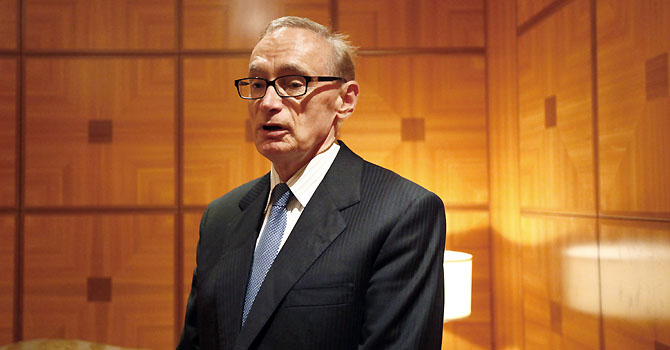 Australia's Foreign Minister Bob Carr poses during an interview with Reuters in Tripoli June 18, 2012.  Carr arrived in Libya on Monday to push for the release of detained International Criminal Court (ICC) staff, including Australian lawyer Melinda Taylor, adding to global pressure on Tripoli over the arrests. Taylor and Lebanese-born interpreter Helene Assaf were detained in the town of Zintan on June 7 and accused of smuggling documents to Muammar Gaddafi's captured son Saif al-Islam.  REUTERS