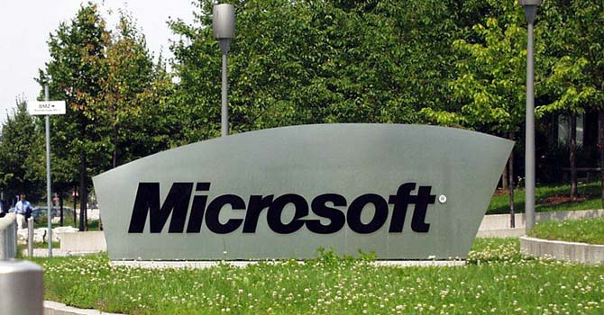 Signage outside a Microsoft office in the US. – File photo