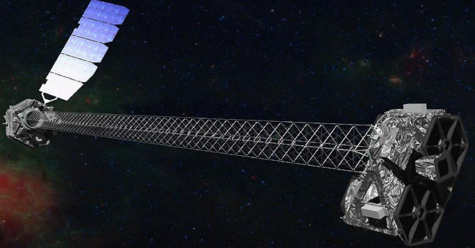 An artist's concept of the Nuclear Spectroscopic Telescope Array (NuSTAR) observatory on orbit illustrates NuSTAR's 10-m (30') mast that deploys after launch to separate the optics modules (R) from the detectors in the focal plane (L), in this image released on June 6, 2012. The spacecraft, which controls NuSTAR's pointings, and the solar panels are with the focal plane. NuSTAR has two identical optics modules in order to increase sensitivity. The background is an image of the Galactic center obtained with the Chandra X-ray Observatory.  REUTERS/NASA/JP