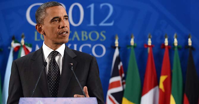 US President Barack Obama speaks during a press conference at the end of the G20 Summit of Heads of State and Government in Los Cabos, Baja California, Mexico on June 19, 2012.