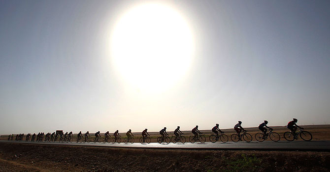 Habibullah quit the race before reaching Karachi after his cycle broke down. – File photo by Reuters