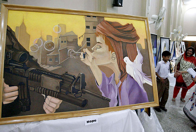 "A painting titled ""Hope"" on display at an exhibition organised by University of Peshawar's Department of Arts and Design in Peshawar, Pakistan. -Photo by PPI"