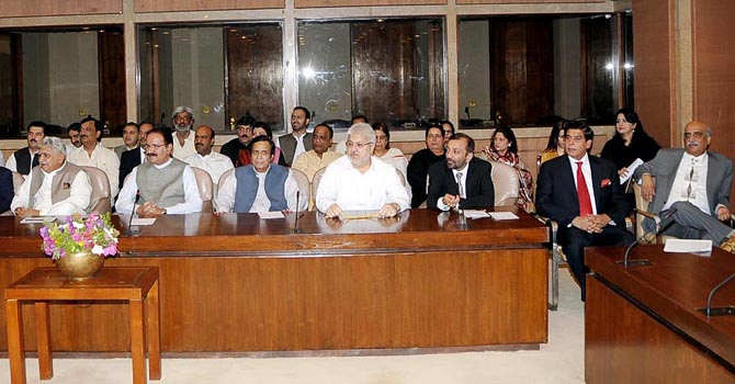 A view of meeting of the Parliamentary Party of Pakistan People?s Party and its allies at Parliament House. ONLINE PHOTO