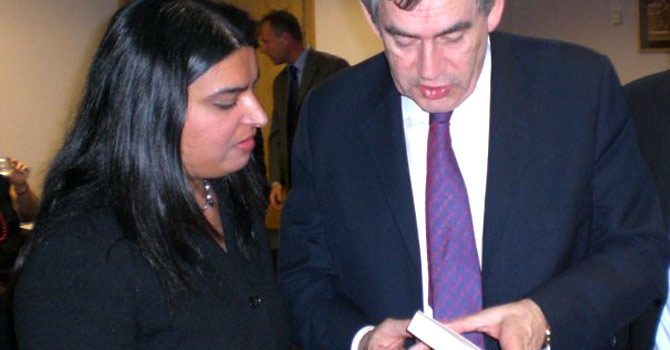 "Sameem Ali with former England Prime Minister Gordon Brown. Here, Brown asks Ali about her favourtie parts from her biography ""Belonging."" – Photo courtesy Sameem Ali"