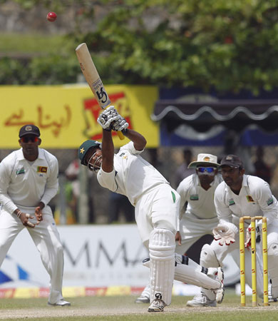 Shafiq hit 13 boundaries in his knock of 80 runs. -Photo by Reuters